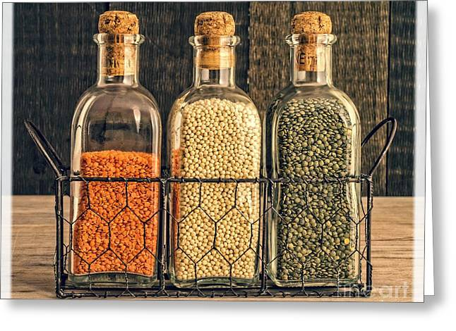 Bottled Greeting Cards - Lentils - Kitchen Art Greeting Card by Edward Fielding