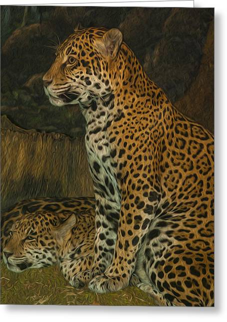 Leo And Friend Greeting Card by Jack Zulli