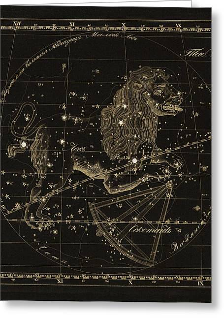 Punched Holes Greeting Cards - Leo constellations, 1829 Greeting Card by Science Photo Library