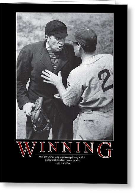 Black And White Baseball Greeting Cards - Leo Durocher Winning Greeting Card by Retro Images Archive