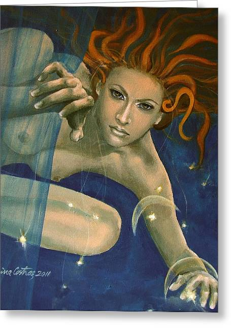 Angel Blues Greeting Cards - Leo from Zodiac series Greeting Card by Dorina  Costras