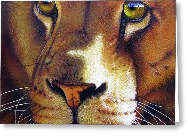 Wildcats Paintings Greeting Cards - Leo Greeting Card by Jurek Zamoyski