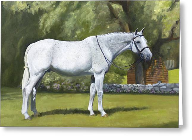 Gray Horse Greeting Cards - Leo Greeting Card by Linda Tenukas