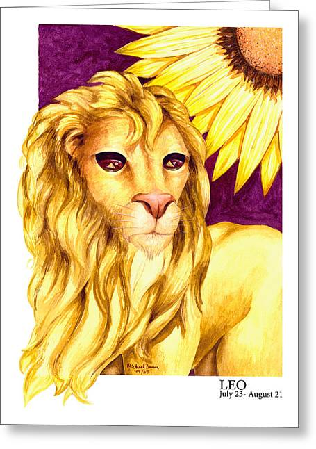 Signs Of The Zodiac Paintings Greeting Cards - Leo Greeting Card by Michael Baum