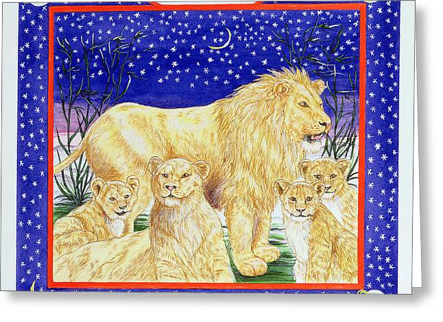 Lions Greeting Cards - Leo Wc On Paper Greeting Card by Catherine Bradbury