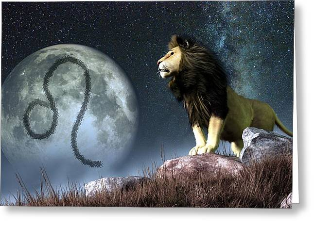 Symbology Greeting Cards - Leo Zodiac Symbol Greeting Card by Daniel Eskridge