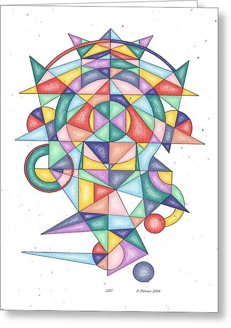 Sacred Drawings Greeting Cards - Leo Zodiac Symbol Greeting Card by Ruthie Ferrone