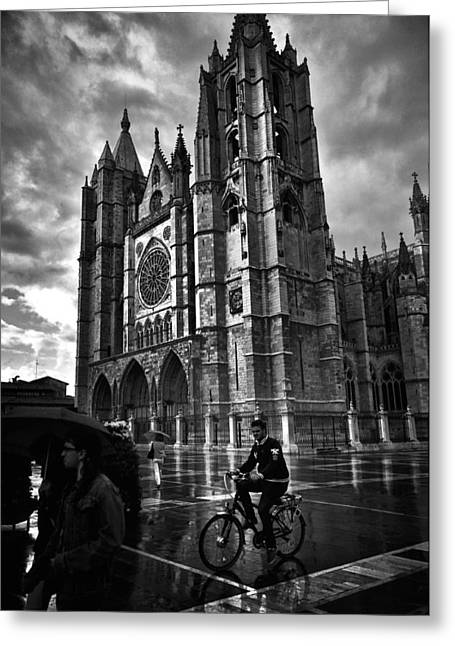 Leon Cathedral In The Rain Greeting Card by Tom Bell
