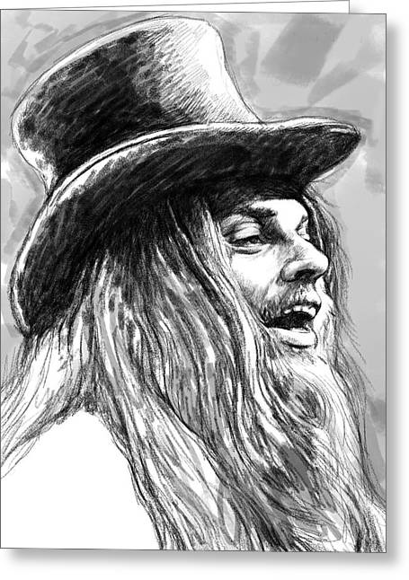 Charcoal Greeting Cards - Leon Russell Art Drawing Sketch Portrait Greeting Card by Kim Wang