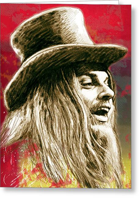 Featured Mixed Media Greeting Cards - Leon Russell - stylised drawing art poster Greeting Card by Kim Wang