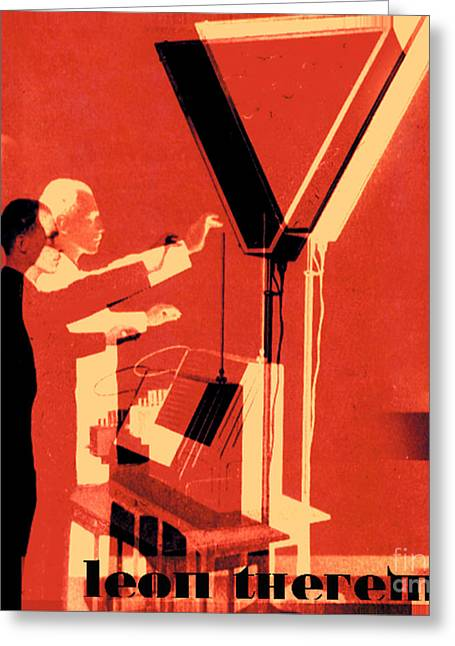 Mog Greeting Cards - Leon Theremin Greeting Card by Jean luc Comperat