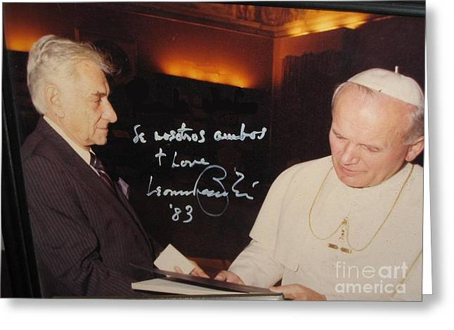 Bernstein Greeting Cards - Leonard Bernstein and Pope John Paul II Greeting Card by Jose Galindo