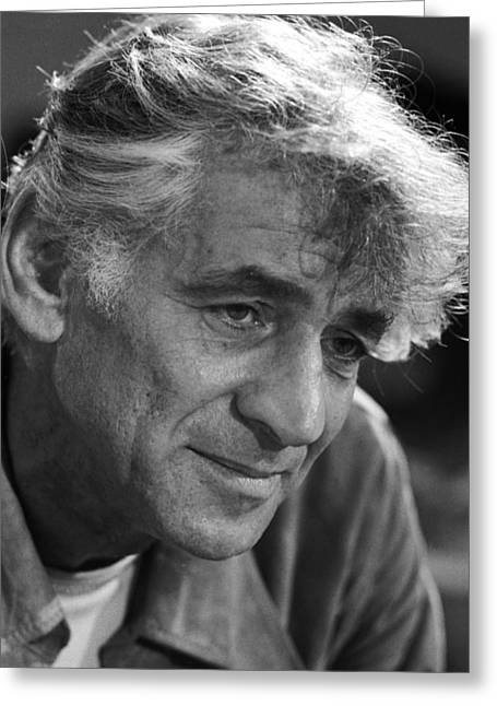 1970s Music Greeting Cards - Leonard Bernstein Greeting Card by Mountain Dreams