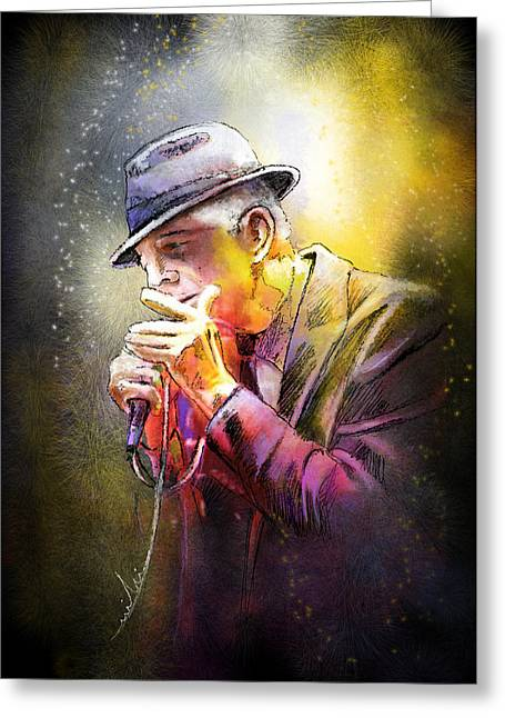 Leonard Cohen 02 Greeting Card by Miki De Goodaboom