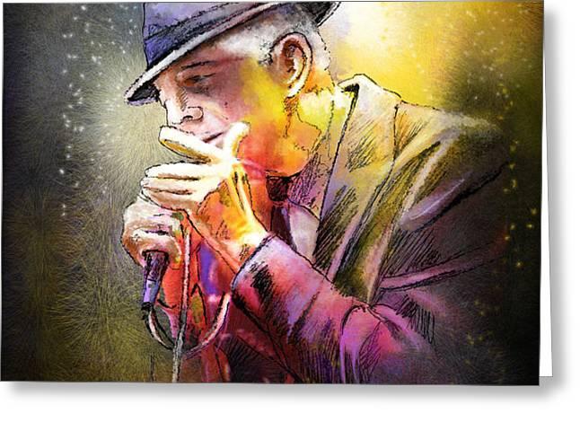 Leonard Cohen 02 Greeting Card by Miki De Goodaboom