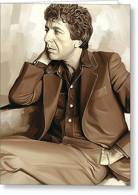 Leonard Cohen Artwork 2 Greeting Card by Sheraz A