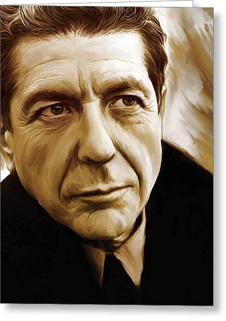 Singer Songwriter Greeting Cards - Leonard Cohen Artwork Greeting Card by Sheraz A