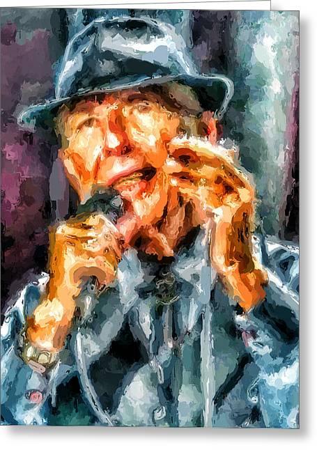 Leonard Cohen Greeting Cards - Leonard Cohen Portrait 4 Greeting Card by Yury Malkov