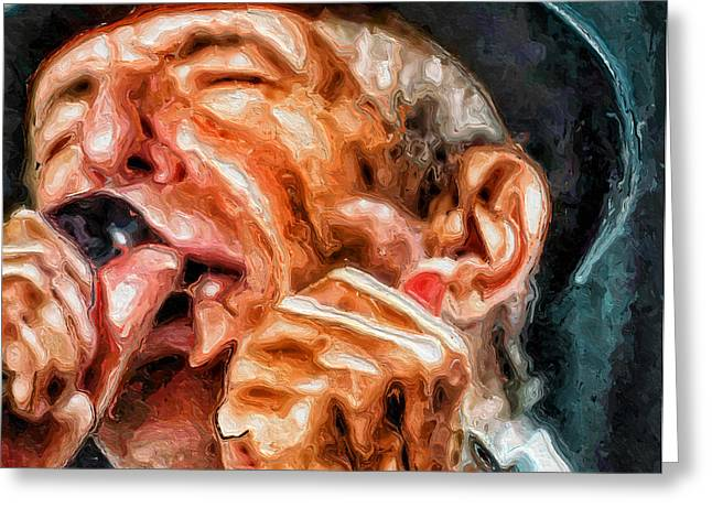 Leonard Cohen Greeting Cards - Leonard Cohen Portrait Greeting Card by Yury Malkov