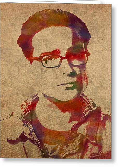 Leonard Greeting Cards - Leonard Hofstadter Watercolor Portrait Big Bang Theory on Distressed Worn Canvas Greeting Card by Design Turnpike