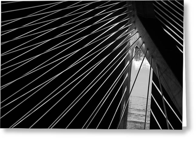 Landmark And Bridges Greeting Cards - Leonard P Zakim Bridge 3 - BW Greeting Card by Joann Vitali