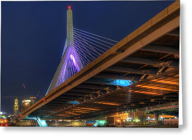 Night Scenes Greeting Cards - Leonard P Zakim Bridge at Night - Boston Greeting Card by Joann Vitali