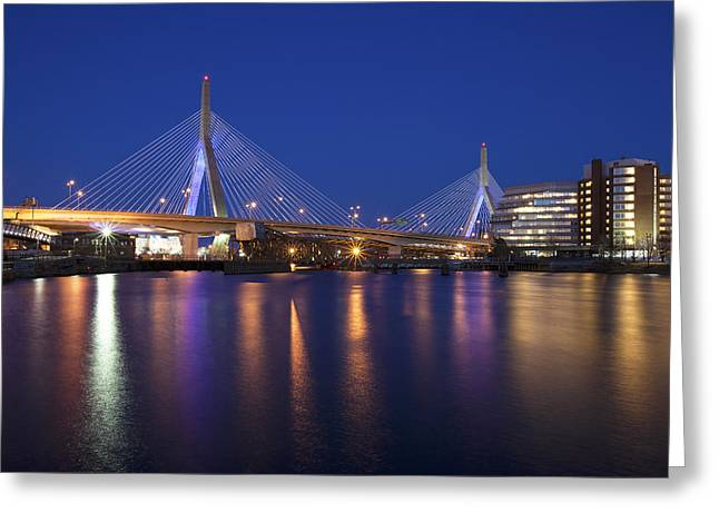Boston Garden Greeting Cards - Leonard P Zakim Bridge Greeting Card by Eric Gendron