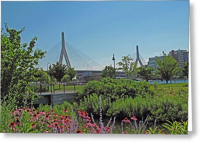 Boston Ma Greeting Cards - Leonard P Zakim Bridge from Cambridge Greeting Card by Barbara McDevitt