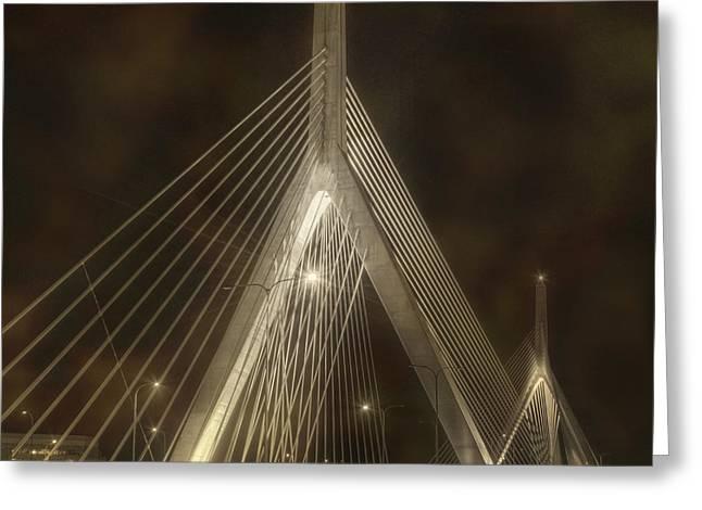 Paul Revere Greeting Cards - Leonard P Zakim Bridge - Sepia Greeting Card by Joann Vitali