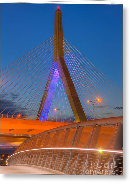 Highway Lights Greeting Cards - Leonard P. Zakim Bunker Hill Bridge V Greeting Card by Clarence Holmes