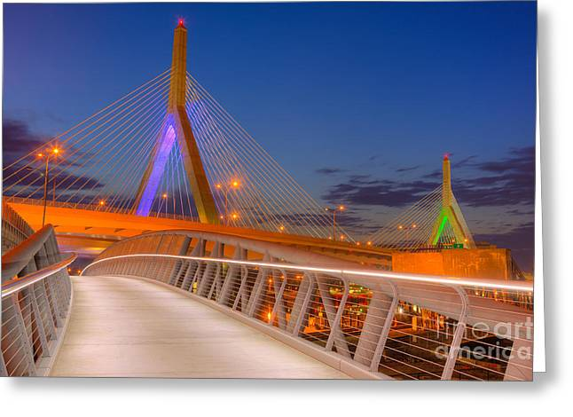Highway Lights Greeting Cards - Leonard P. Zakim Bunker Hill Bridge VII Greeting Card by Clarence Holmes
