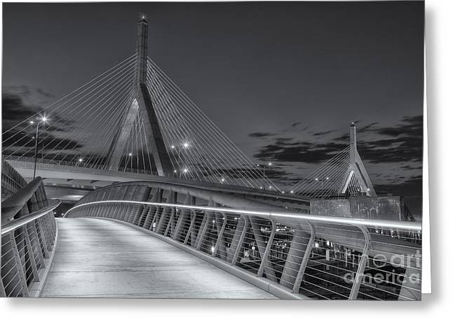 Highway Lights Greeting Cards - Leonard P. Zakim Bunker Hill Bridge VIII Greeting Card by Clarence Holmes