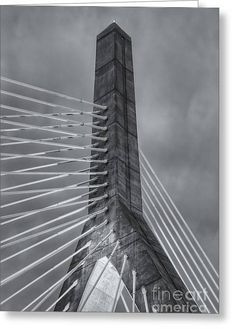 Highway Lights Greeting Cards - Leonard P. Zakim Bunker Hill Bridge X Greeting Card by Clarence Holmes