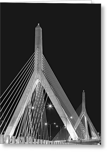 Bunker Hill Greeting Cards - Leonard P. Zakim Bunker Hill Memorial Bridge BW II Greeting Card by Susan Candelario