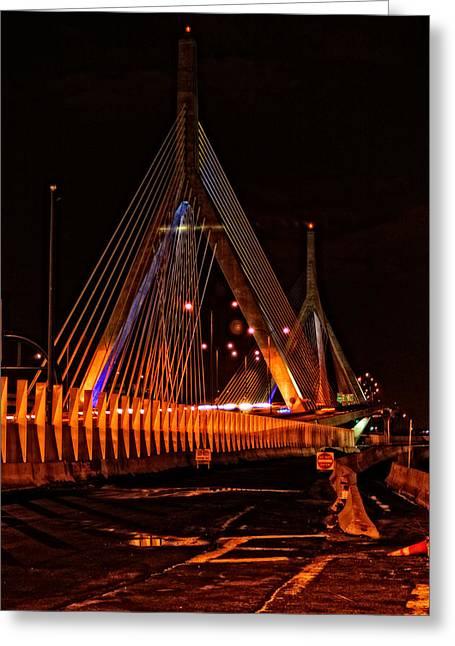 Boston Ma Greeting Cards - Leonard P Zakim Bunker Hill Memorial Bridge Greeting Card by Mike Martin