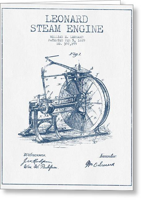 Steam Room Greeting Cards - Leonard Steam Engine Patent Drawing From 1889- Blue Ink Greeting Card by Aged Pixel