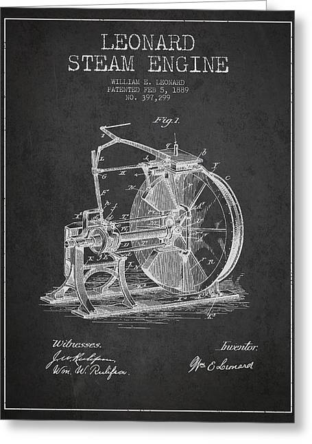 Steam Engine Greeting Cards - Leonard Steam Engine Patent Drawing From 1889- Dark Greeting Card by Aged Pixel