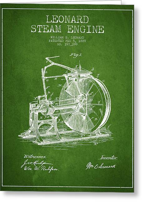 Steam Engine Greeting Cards - Leonard Steam Engine Patent Drawing From 1889- Green Greeting Card by Aged Pixel