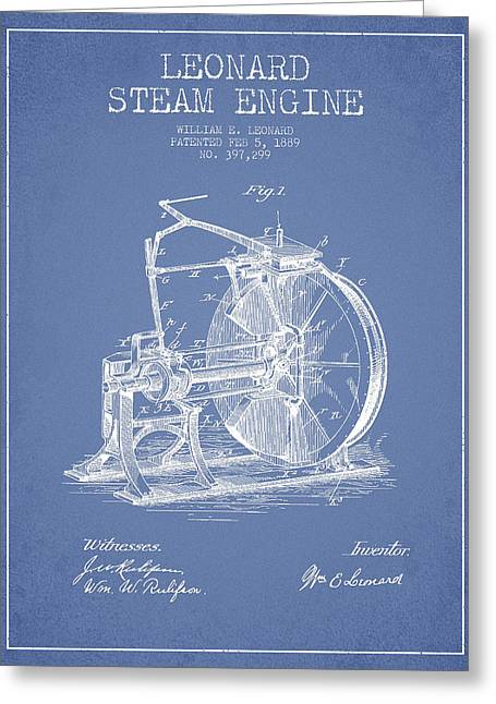Steam Engine Greeting Cards - Leonard Steam Engine Patent Drawing From 1889- Light Blue Greeting Card by Aged Pixel