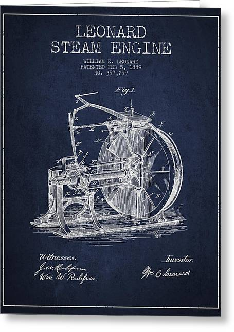 Steam Engine Greeting Cards - Leonard Steam Engine Patent Drawing From 1889- Navy Blue Greeting Card by Aged Pixel