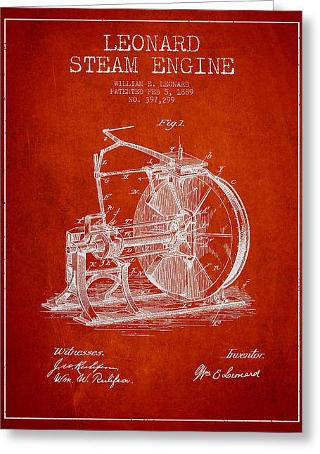 Steam Engine Greeting Cards - Leonard Steam Engine Patent Drawing From 1889- Red Greeting Card by Aged Pixel