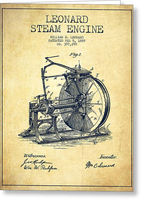 Steam Engine Greeting Cards - Leonard Steam Engine Patent Drawing From 1889- Vintage Greeting Card by Aged Pixel