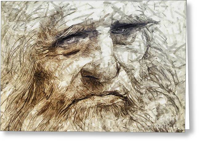 Renaissance Pastels Greeting Cards - Leonardo Da Vinci drawing - portrait Greeting Card by Daliana Pacuraru