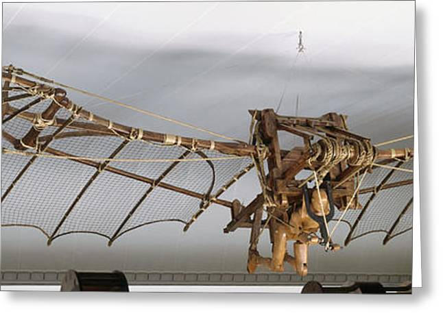 Mechanism Greeting Cards - Leonardo Da Vincis Ornithopter Greeting Card by Peter Chadwick / Dorling Kindersley