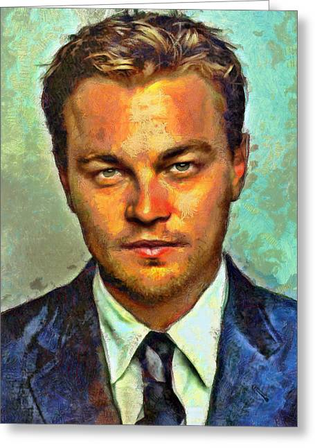 Lucent Dreaming Greeting Cards - Leonardo DiCaprio Greeting Card by Nikola Durdevic
