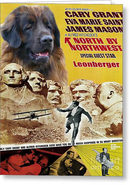 Leonberger Art Canvas Print - North By Northwest Movie Poster Greeting Card by Sandra Sij