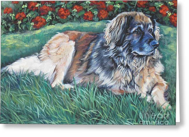 Leonberger Greeting Card by Lee Ann Shepard