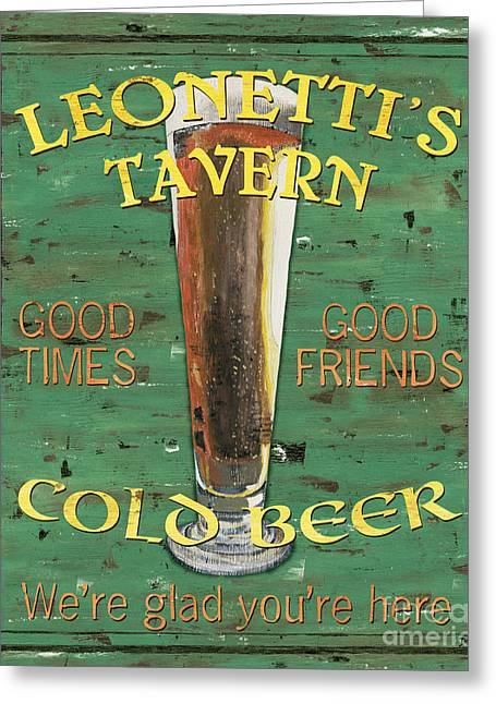 Yellow Brown Greeting Cards - Leonettis Tavern Greeting Card by Debbie DeWitt