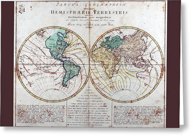 18th Century Mixed Media Greeting Cards - Leonhard Euler World Map 1760 AD with matching grey burgundy small border Greeting Card by L Brown