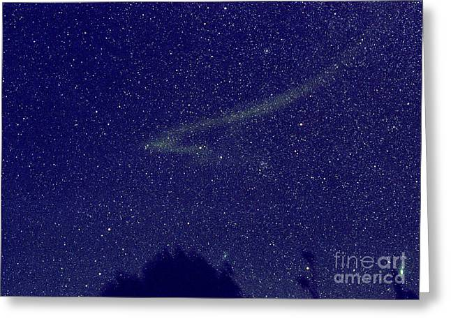 Outerspace Greeting Cards - Leonid Meteor Dust Trail Greeting Card by John Chumack